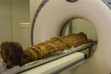 Mummy entering scanner during testing